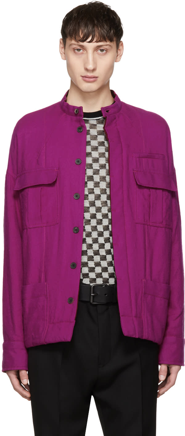 ピンク ウール ダブル ポケット ジャケット