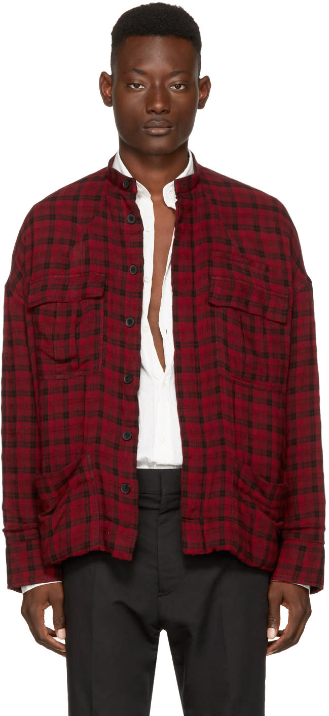レッド オーバーサイズ チェック シャツ ジャケット