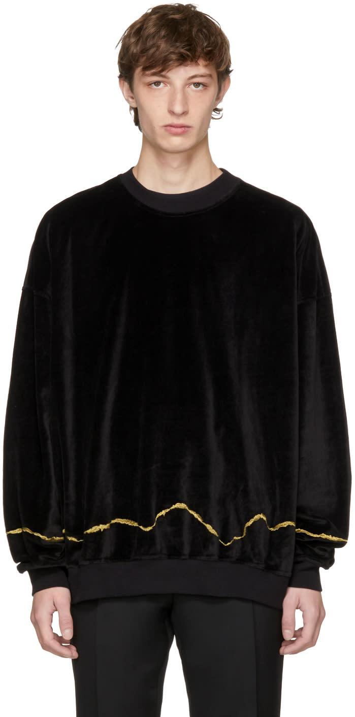 Haider Ackermann ブラック ベルベット クラーク スウェットシャツ
