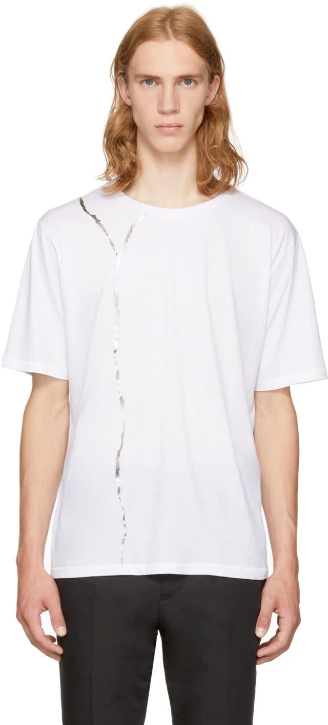 Haider Ackermann ホワイト メタリック グラフィック T シャツ