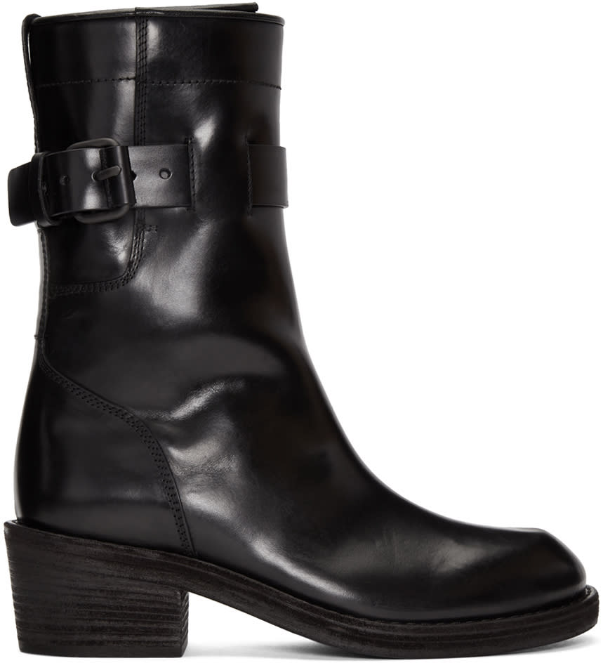 Image of Haider Ackermann Black Dean Engineer Buckle Boots