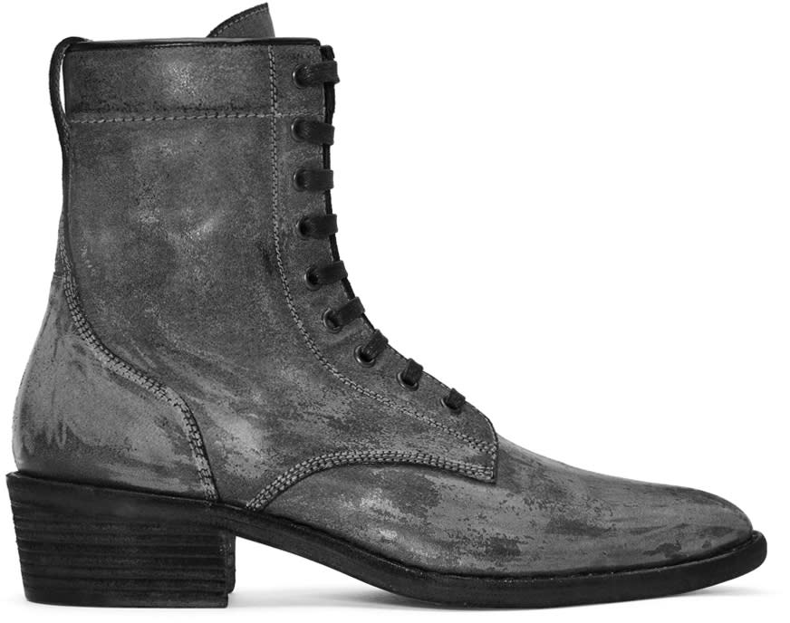 Image of Haider Ackermann Black Distressed Rodeo Lace-up Boots