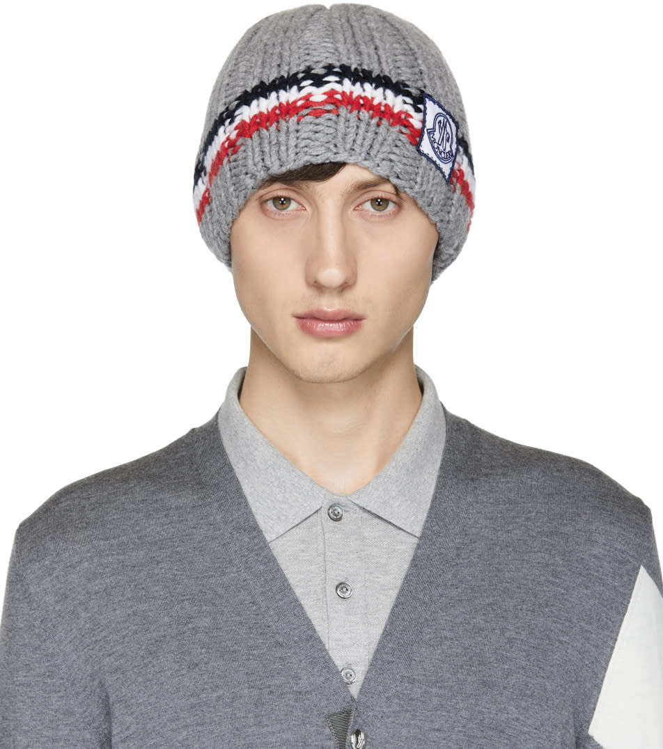 Image of Moncler Gamme Bleu Grey Cashmere Striped Beanie