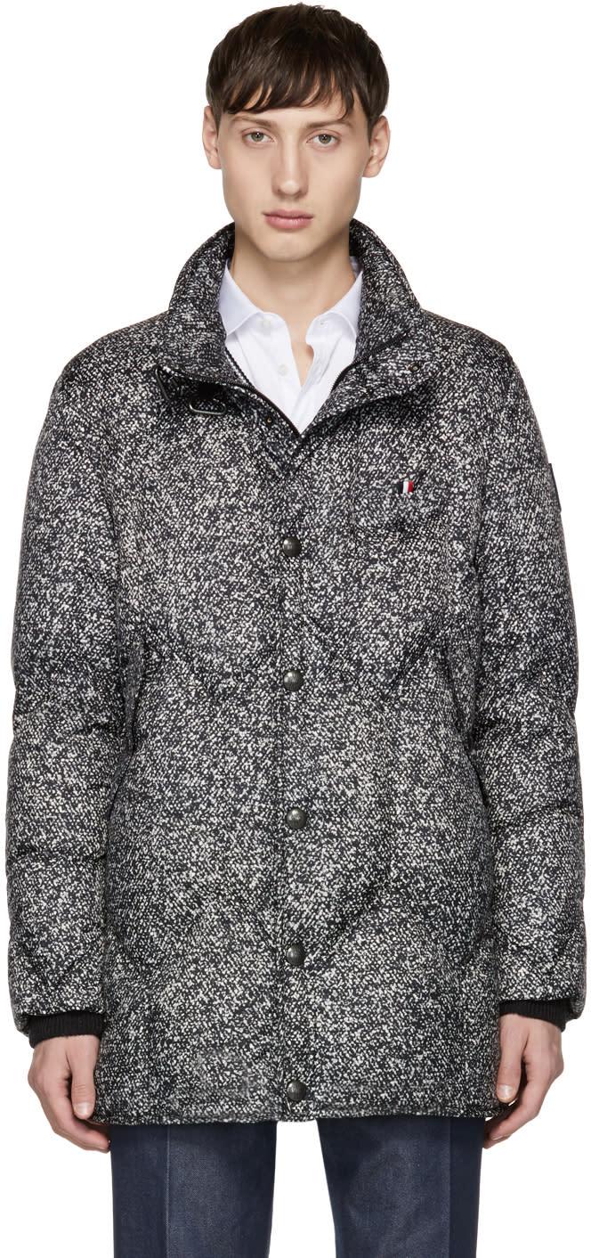 Image of Moncler Gamme Bleu Black and Grey Down Speckled Jacket