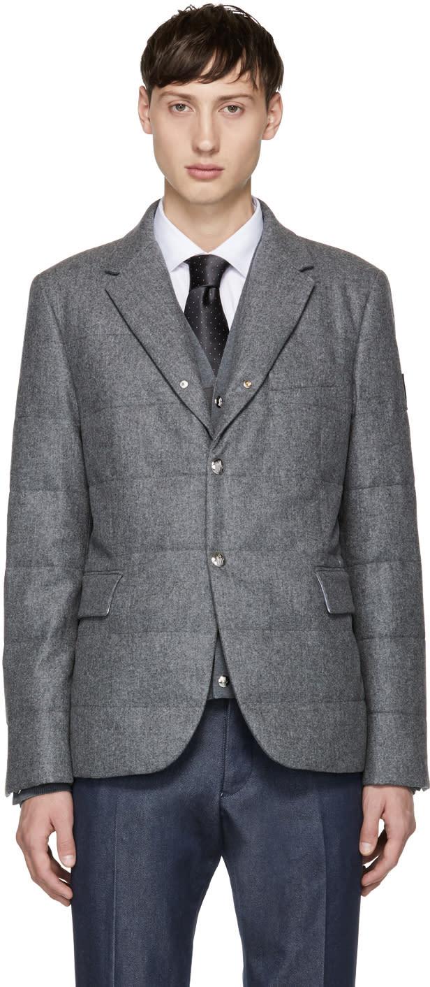 Image of Moncler Gamme Bleu Grey Down Logo Blazer