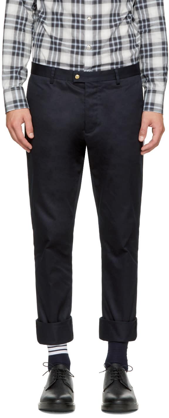 Moncler Gamme Bleu Pantalon En Coton Bleu Marine Classic