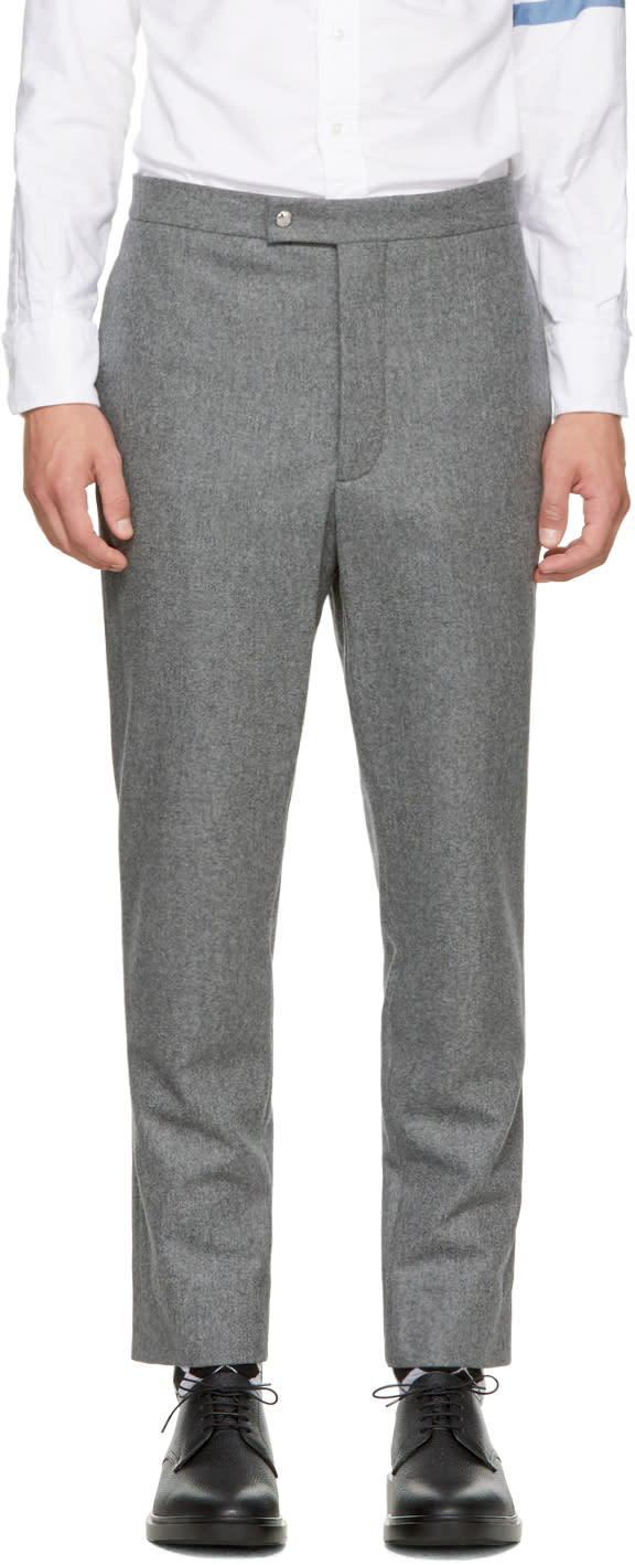 Image of Moncler Gamme Bleu Grey Classic Wool Trousers