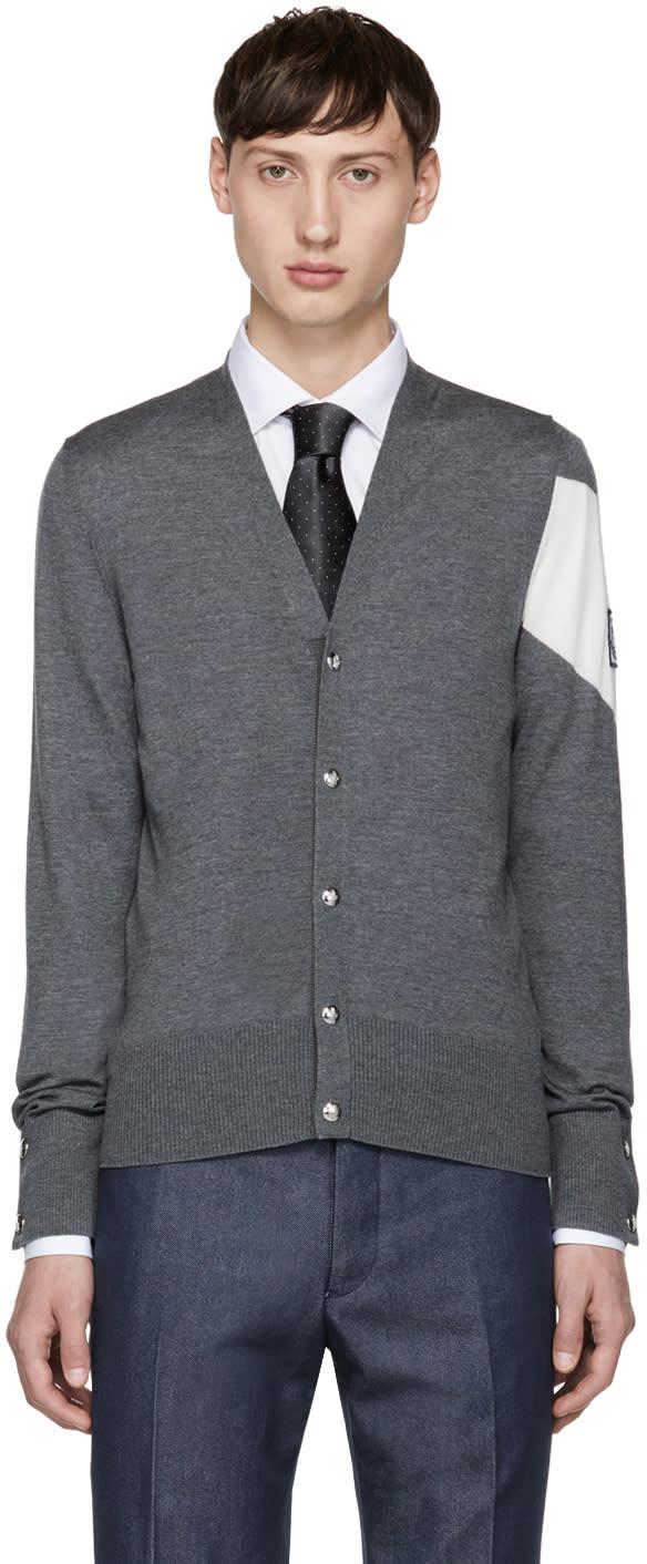 Image of Moncler Gamme Bleu Grey Chevron Sleeve Cardigan