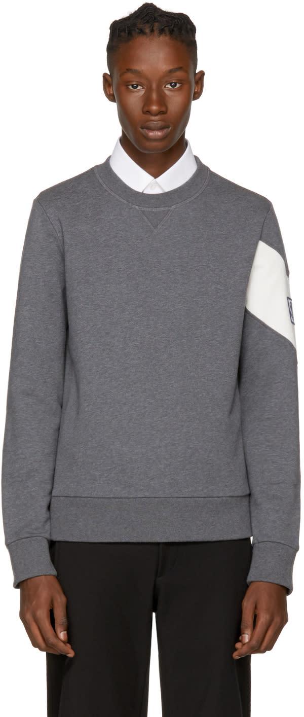 Image of Moncler Gamme Bleu Grey Chevron Logo Sleeve Sweatshirt