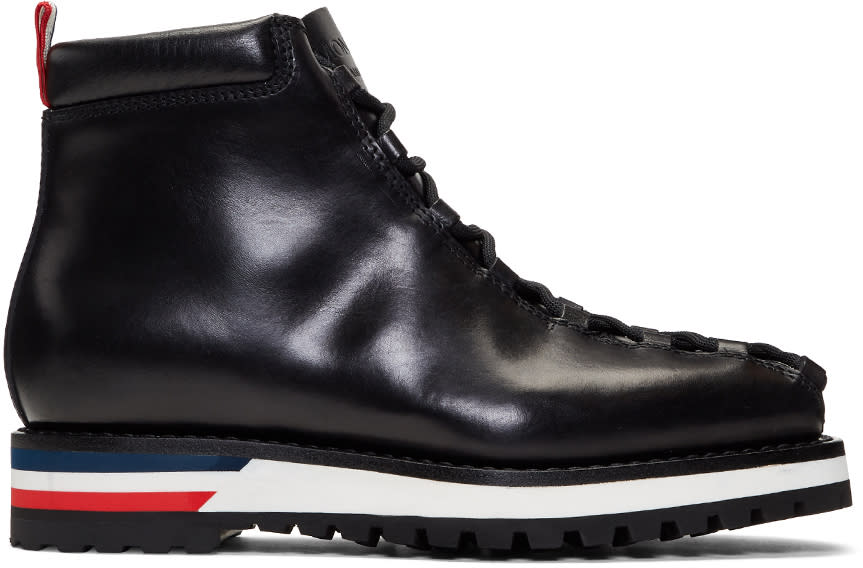 Image of Moncler Gamme Bleu Black Leather Lace-up Boots