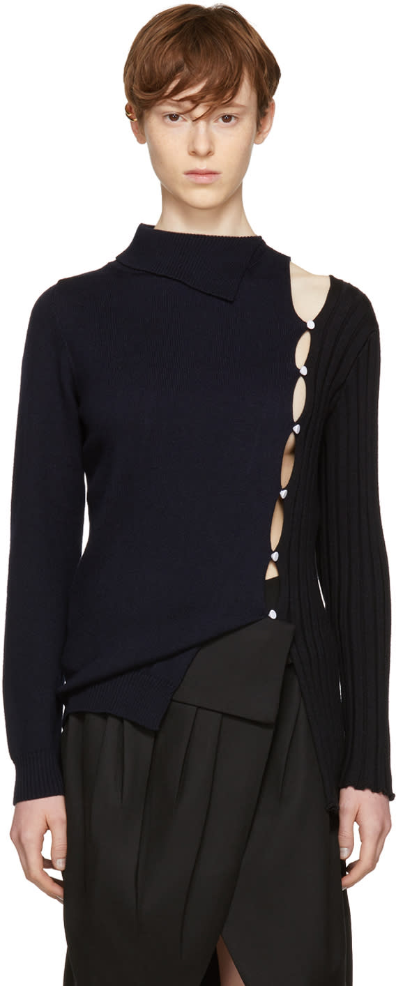 Image of Jacquemus Black and Navy la Maille Coupée Cardigan