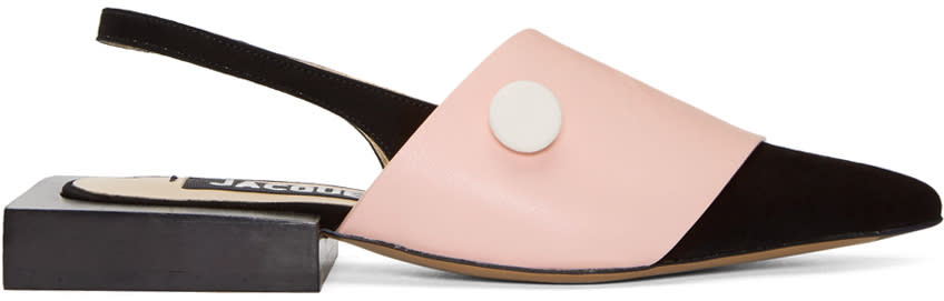 Image of Jacquemus Black and Pink les Sandales Boutons Mules