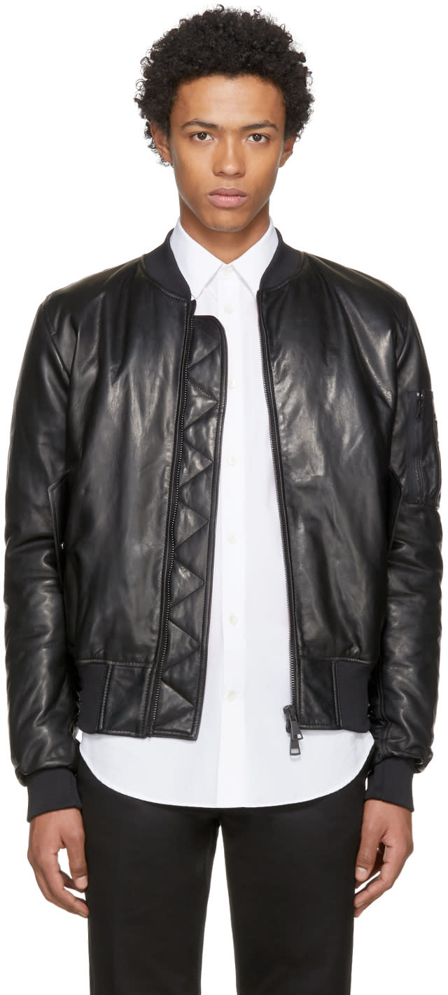 Image of Pyer Moss Black Leather Taxi Driver Ma-1 Bomber Jacket