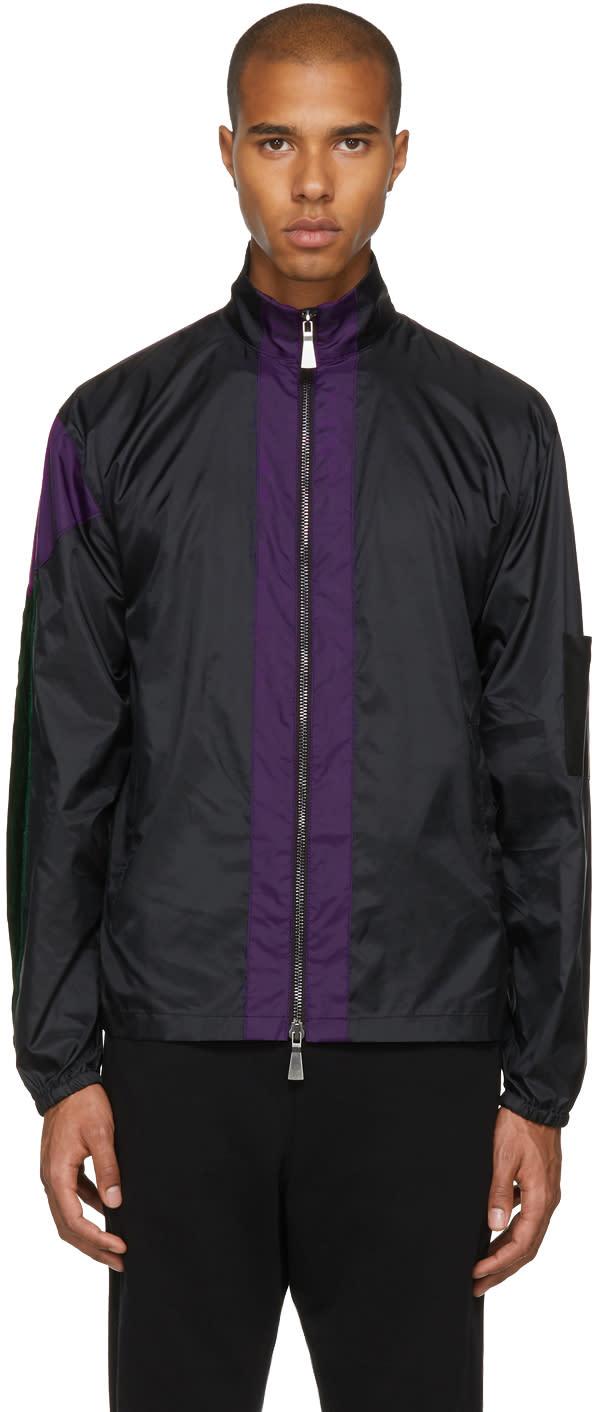 Image of Pyer Moss Black Nylon and Velvet Track Jacket