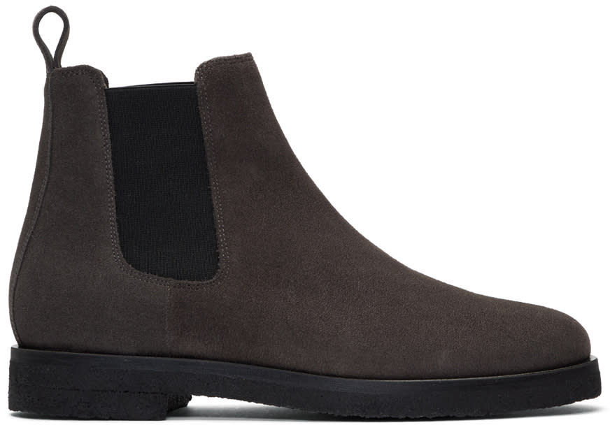 Image of Etq Amsterdam Grey Suede Chelsea Boots