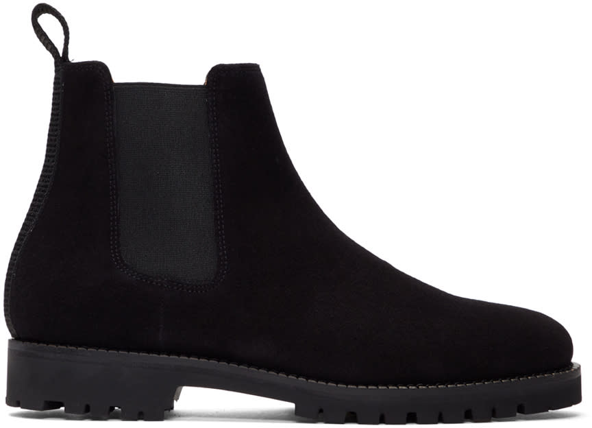 Image of Etq Amsterdam Black Suede Chelsea Boots