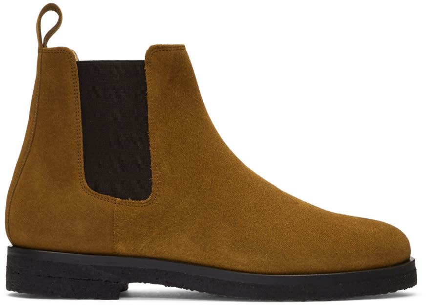 Image of Etq Amsterdam Tan Suede Chelsea Boots