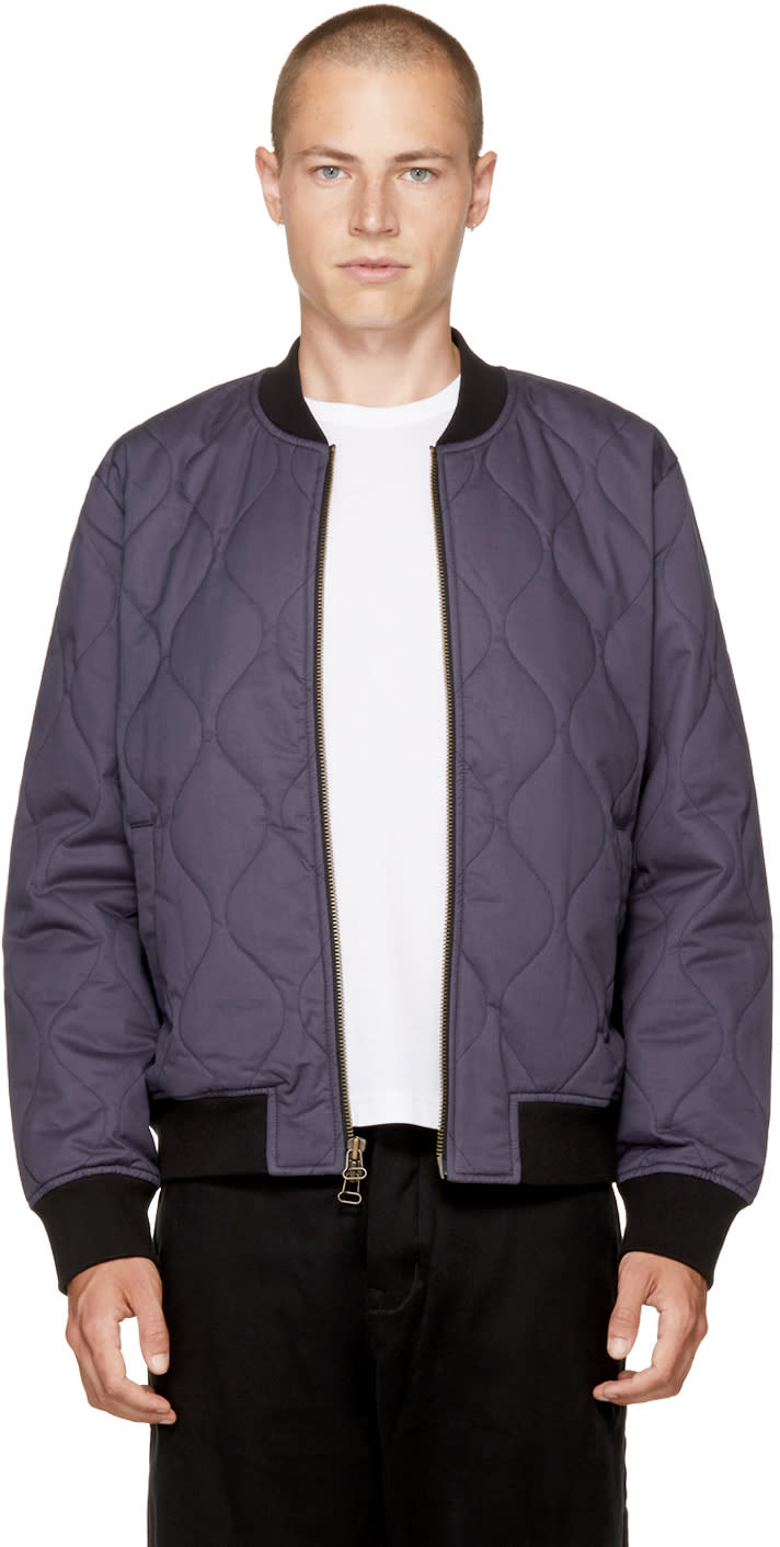 Image of Levis Made and Crafted Navy Quilted Zip Bomber Jacket
