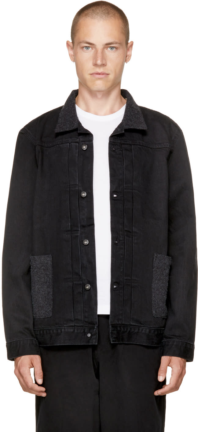 Image of Levis Made and Crafted Black Denim Type Ii Worn Trucker Jacket
