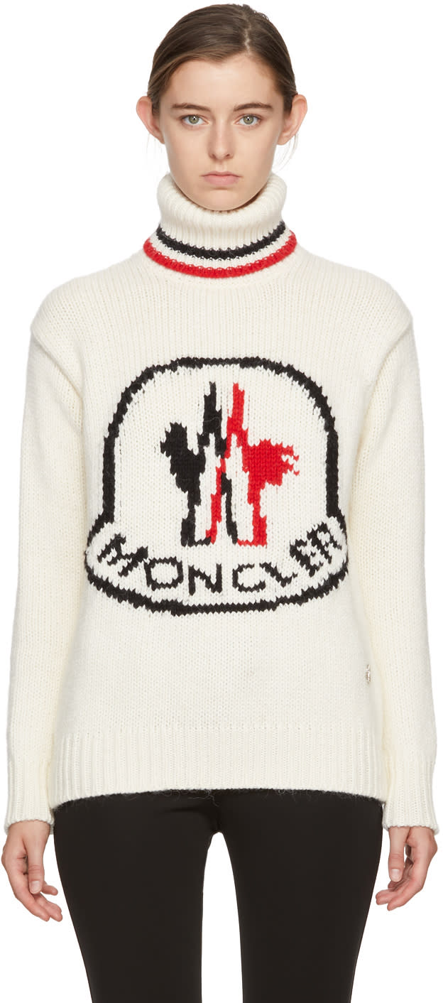 Image of Moncler Gamme Rouge White Cashmere Logo Turtleneck