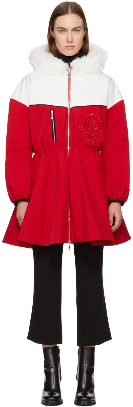 Image of Moncler Gamme Rouge Red and White Down Jiya Kwon Coat