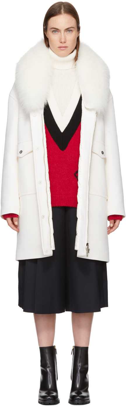 Image of Moncler Gamme Rouge White Down Melville Coat