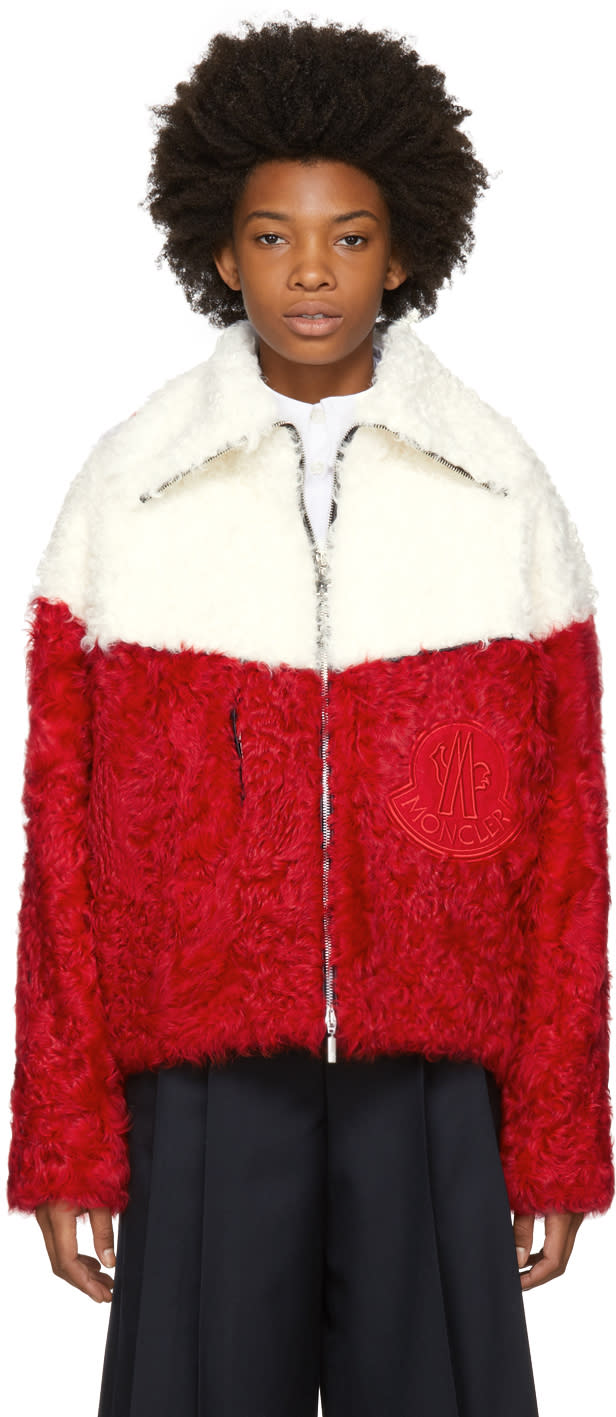 Image of Moncler Gamme Rouge Red and White Shearling Jacket