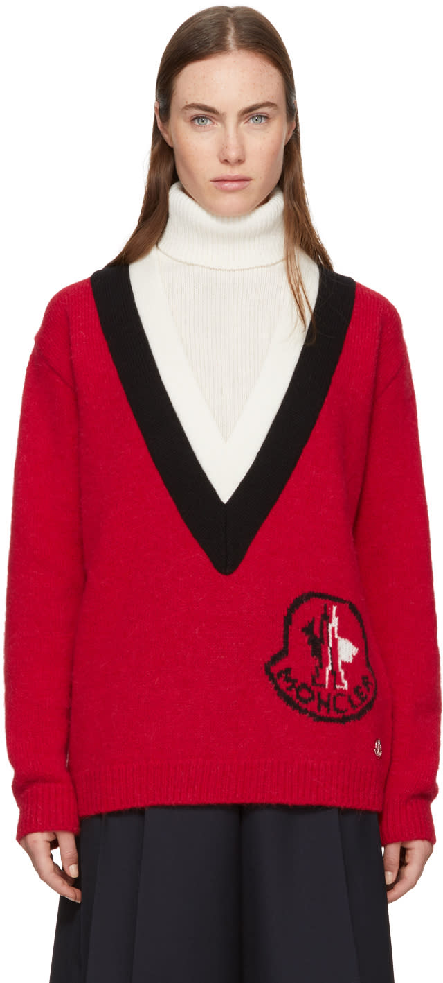 Image of Moncler Gamme Rouge Tricolor Logo Turtleneck