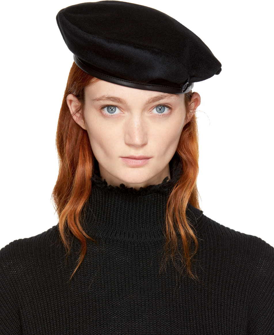Yohji Yamamoto Black Wool Beret