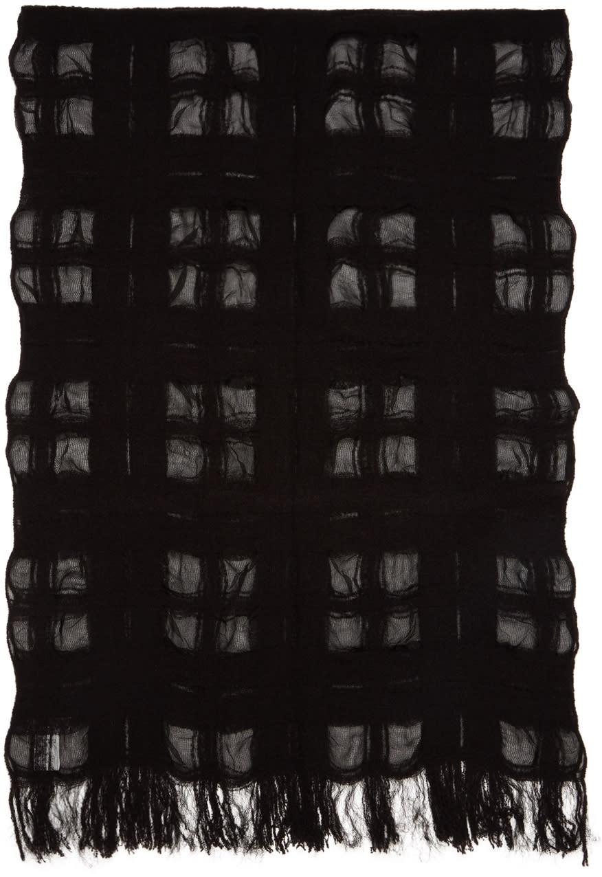Image of Yohji Yamamoto Black Bouclé Check Stole Scarf