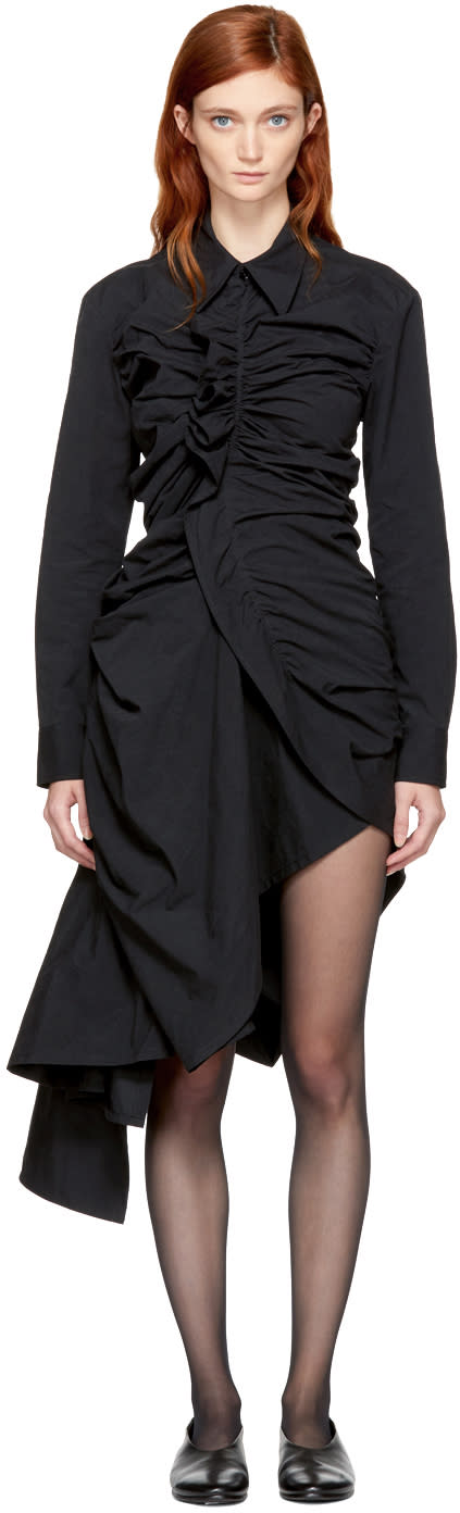 Image of Yohji Yamamoto Black Open Gather Shirt Dress