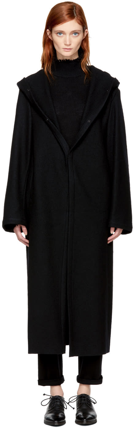 Image of Yohji Yamamoto Black Big Wool Coat