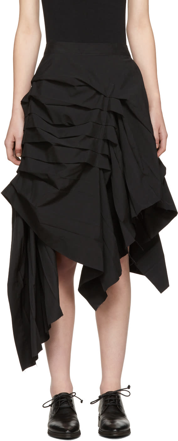 Image of Yohji Yamamoto Black Asymmetric Knife Pleat Skirt