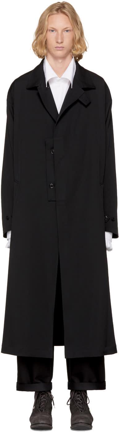 Image of Yohji Yamamoto Black Gabardine Rain Coat