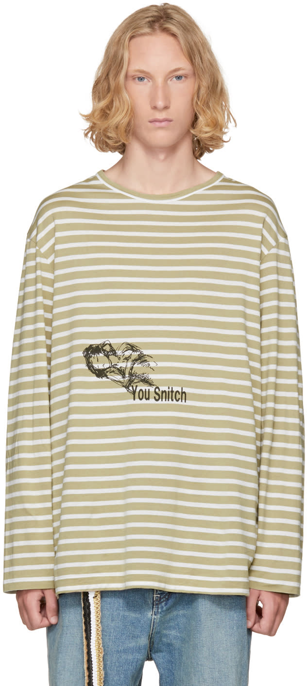 Image of Yohji Yamamoto Beige and White Striped you Snitch T-shirt