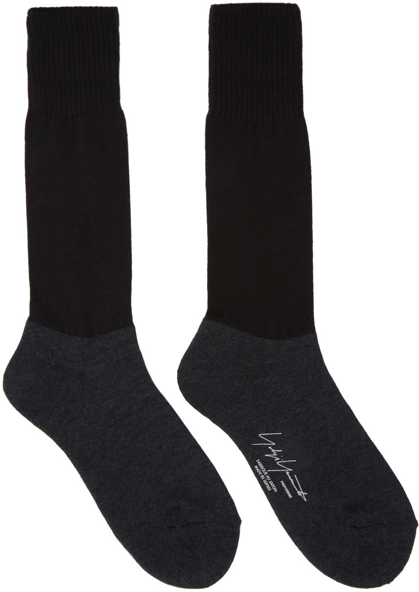 Image of Yohji Yamamoto Black and Grey Military Socks