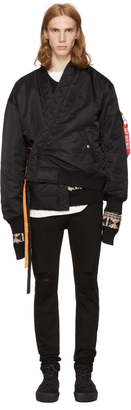 Image of Christian Dada Reversible Black Jinbei Bomber Jacket