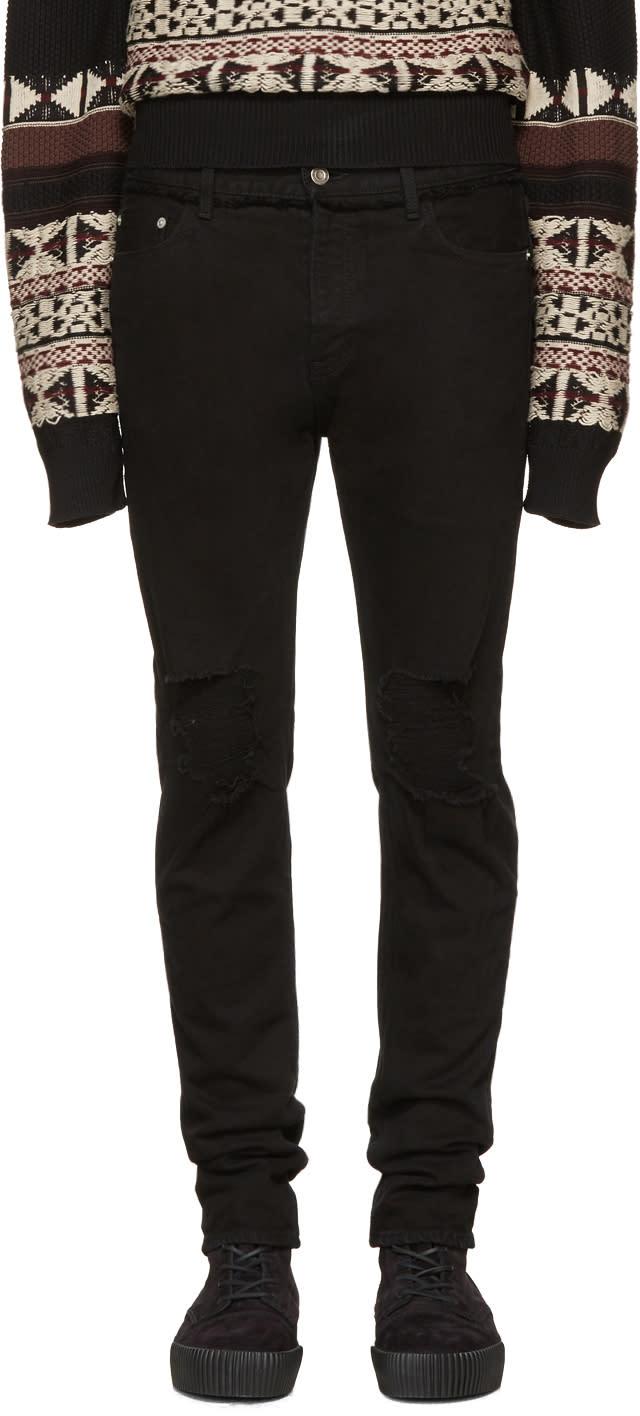 Image of Christian Dada Black Knee Damaged Signature Skinny Jeans