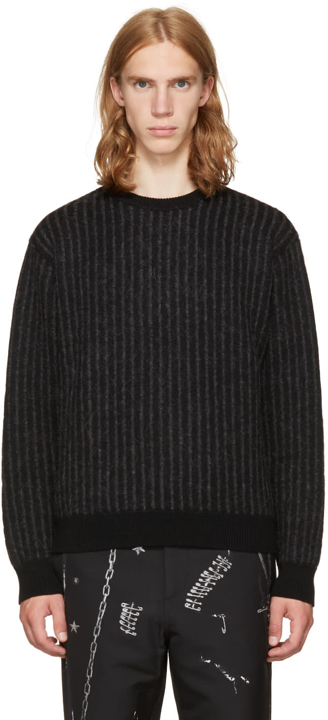 Image of Christian Dada Black and Grey Striped Crewneck Sweater