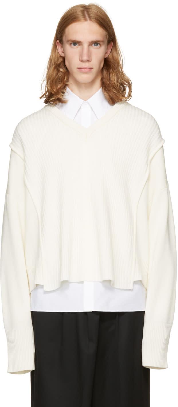 Image of Christian Dada Off-white Oversized Detached V-neck Sweater