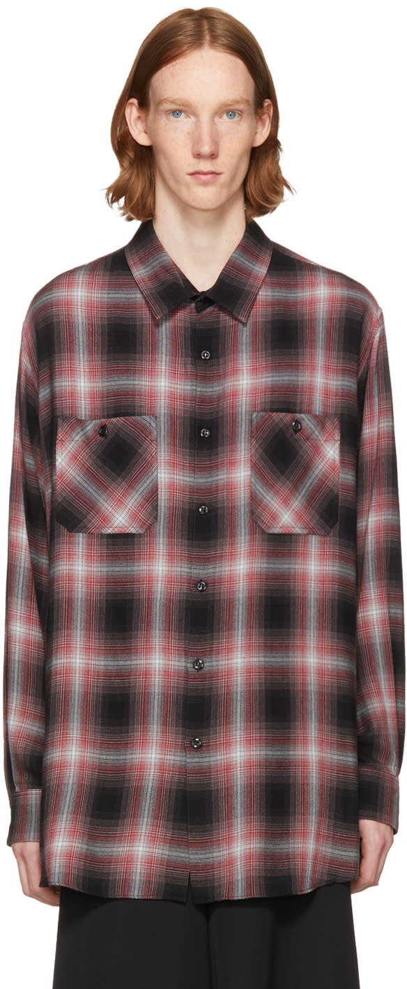 Image of Lad Musician Black and Red Ombre Check Shirt