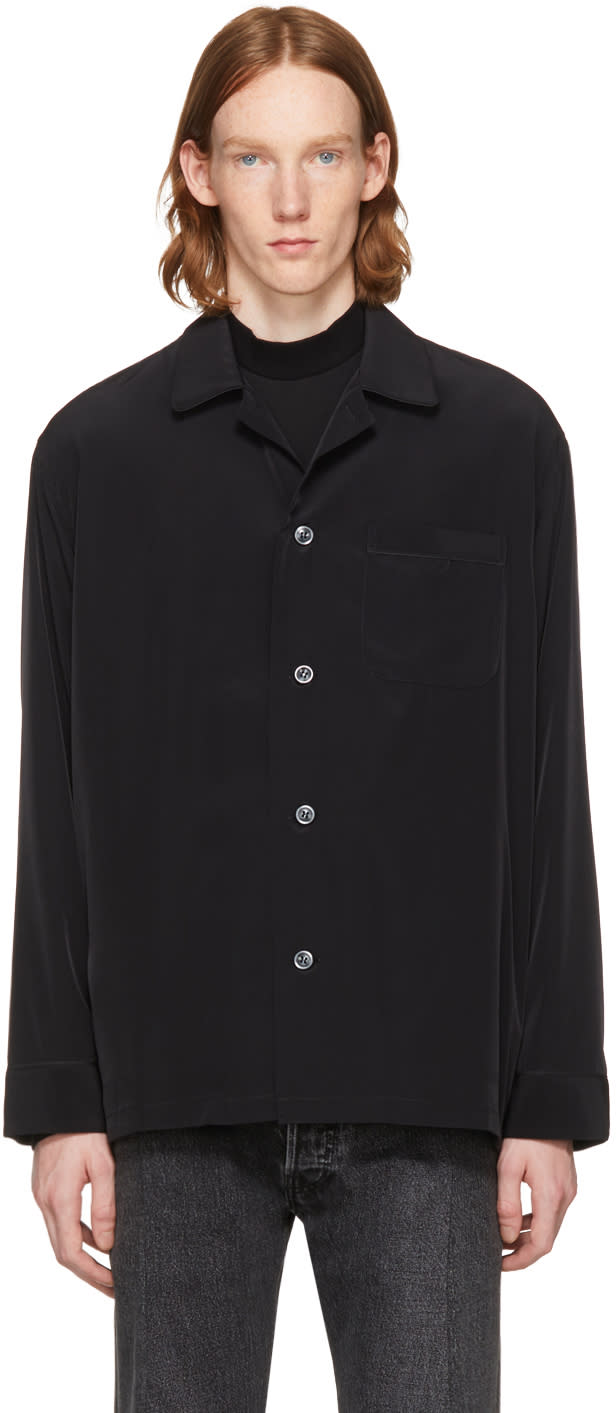 Image of Lad Musician Black Silk Pajama Shirt