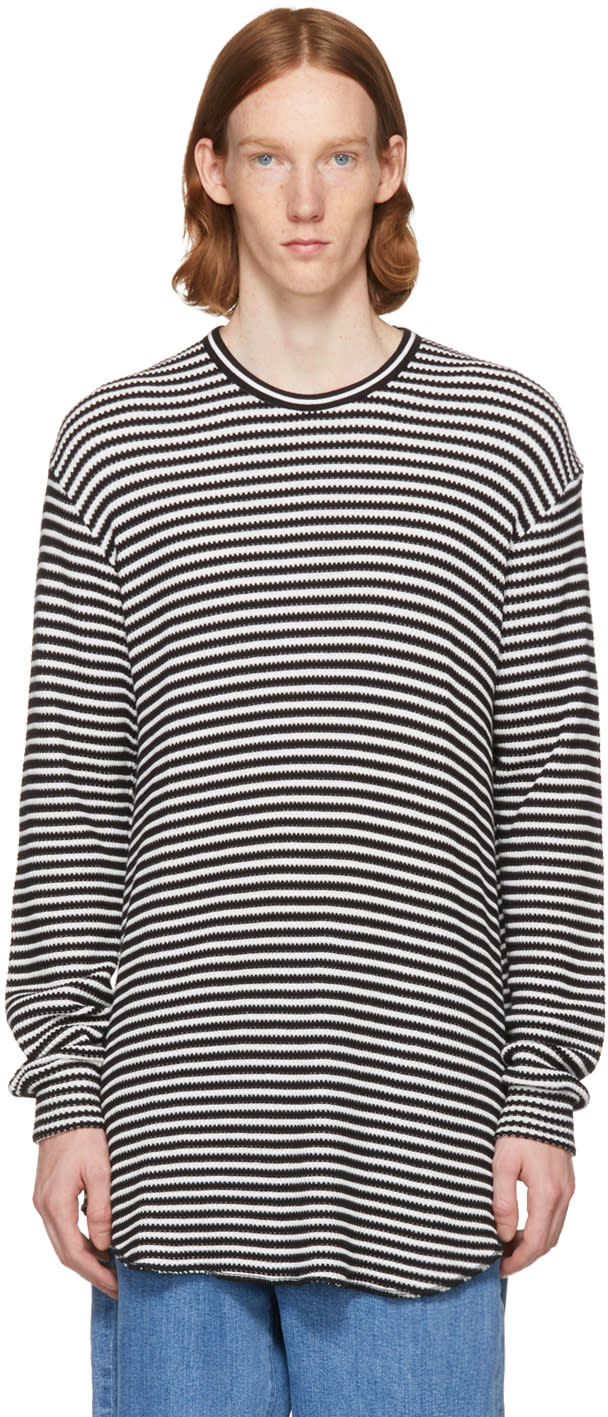 Image of Lad Musician White and Black Striped Thermal Pullover