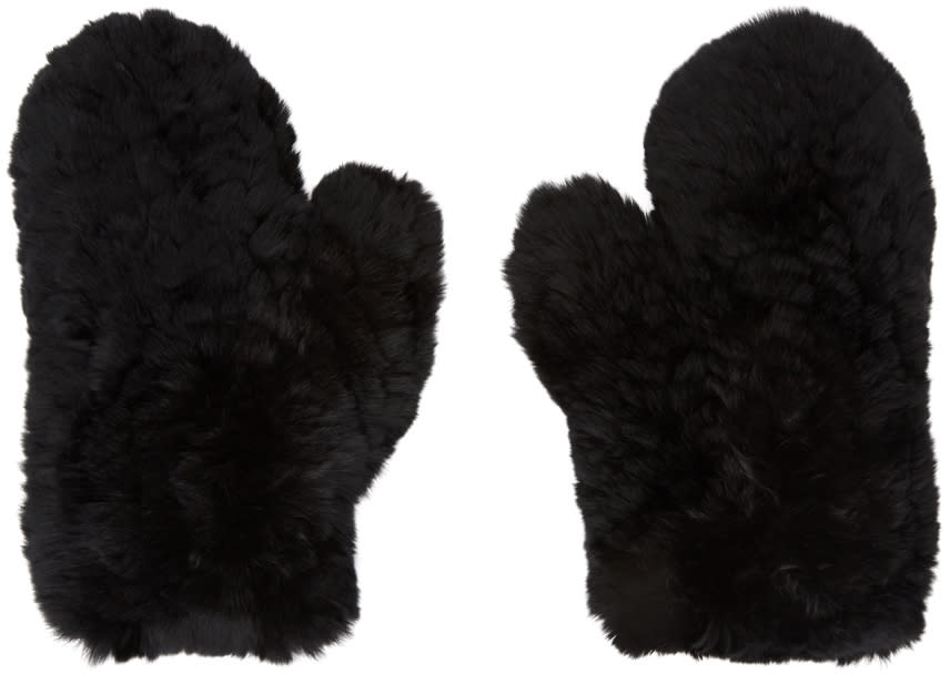 Image of Yves Salomon Black Fur and Leather Mittens