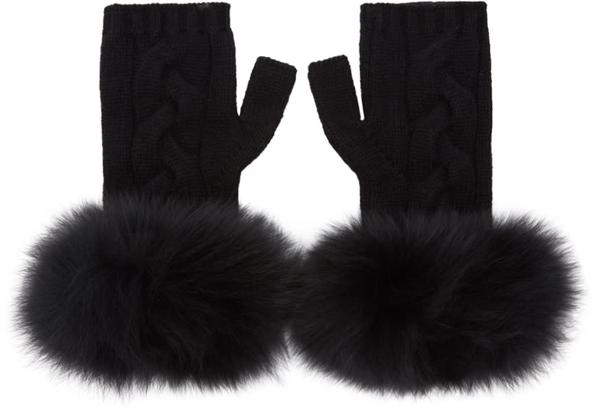 Image of Yves Salomon Black Cashmere and Fur Mittens