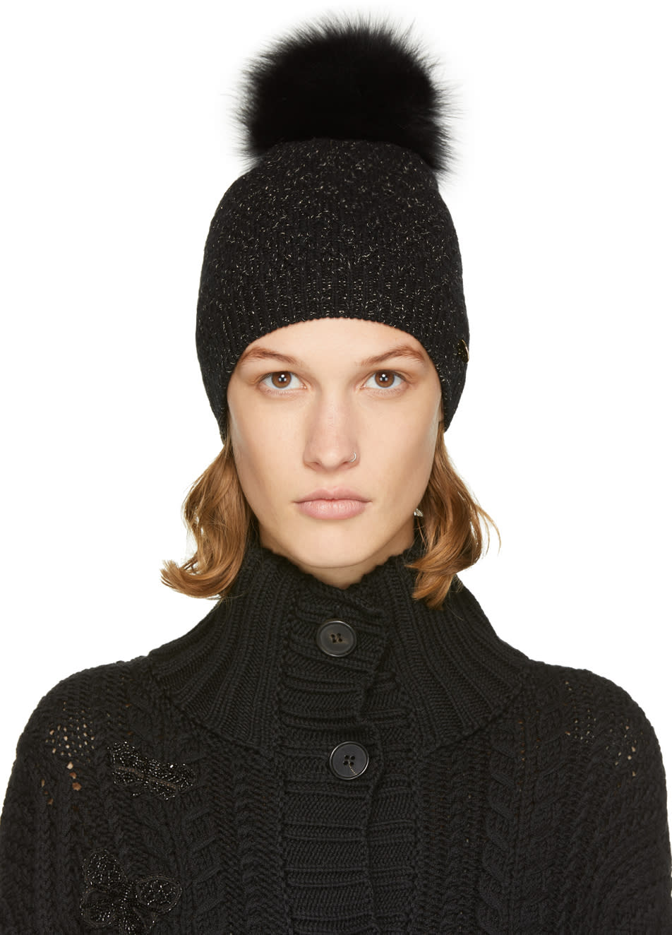Image of Yves Salomon Black and Gold Sparkle Fur Pom Pom Beanie