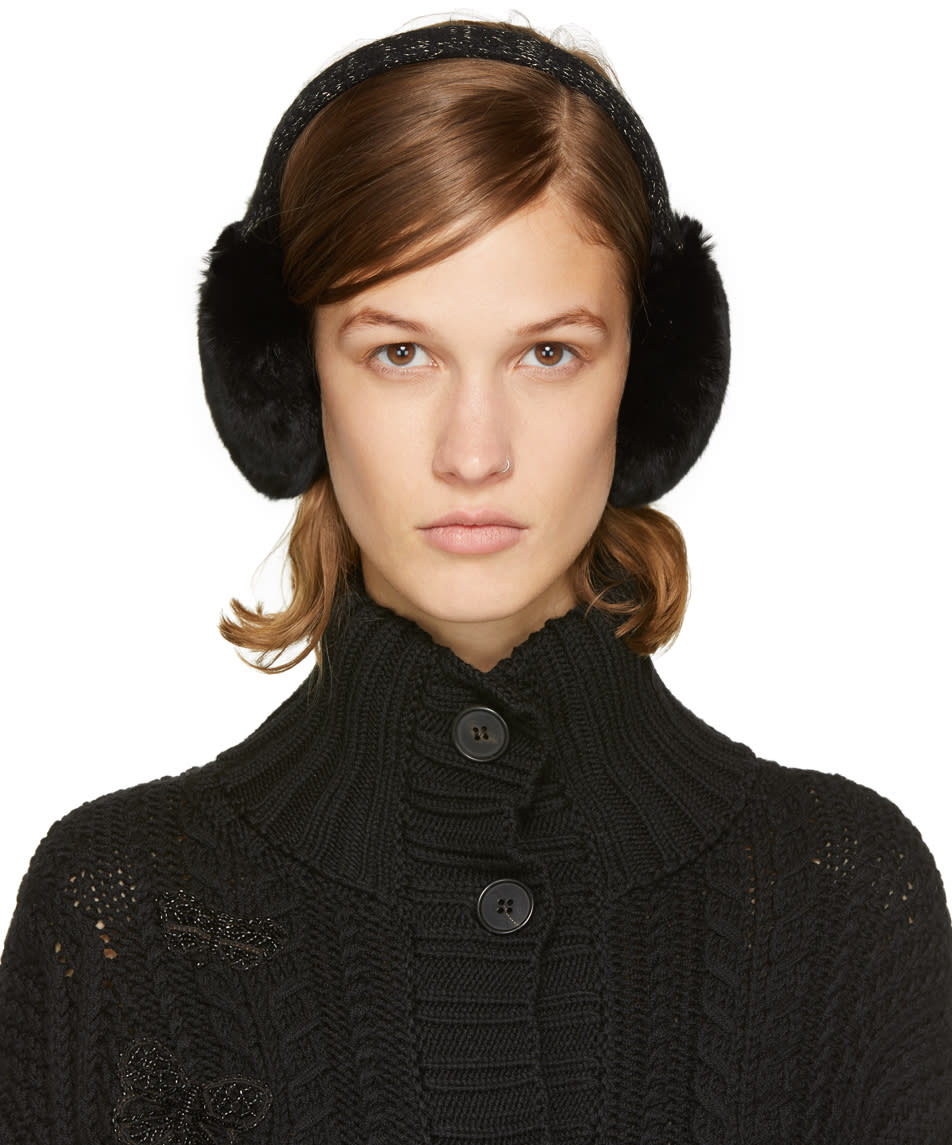 Image of Yves Salomon Black Fur Earmuffs