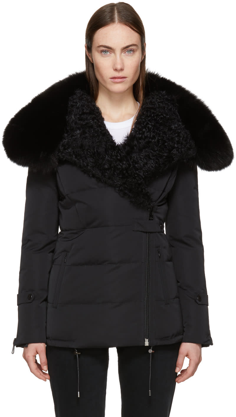 Image of Yves Salomon Black Fur Collar Techno Satin Jacket