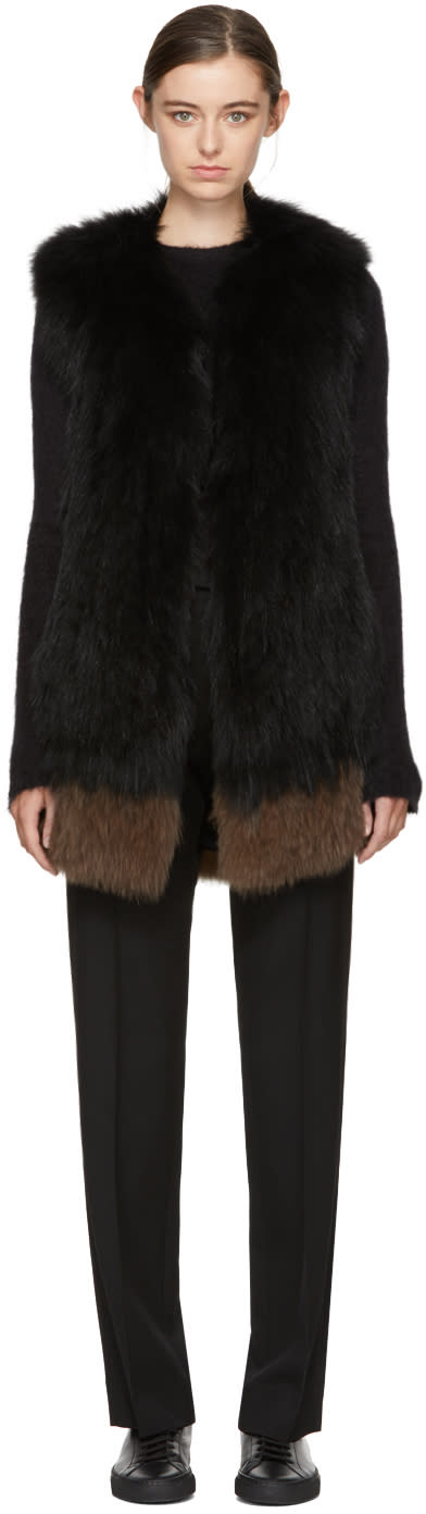 Image of Yves Salomon Black and Brown Knit Fur Vest