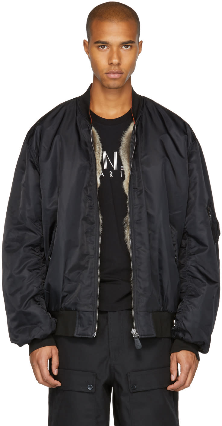 Image of Yves Salomon Black Fur-lined Bomber Jacket